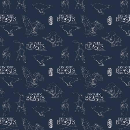 Fantastic Beasts - Navy Logo & Creatures w/Metallic