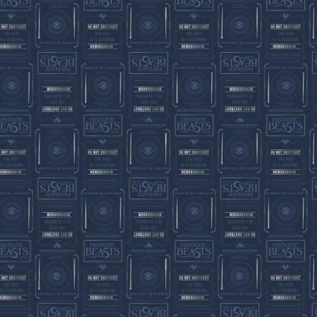 Fantastic Beasts - Blue Newsprint & Symbols w/Metallic