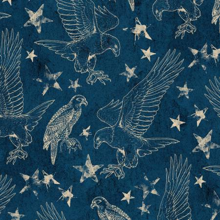 Land of Liberty Blue Toile