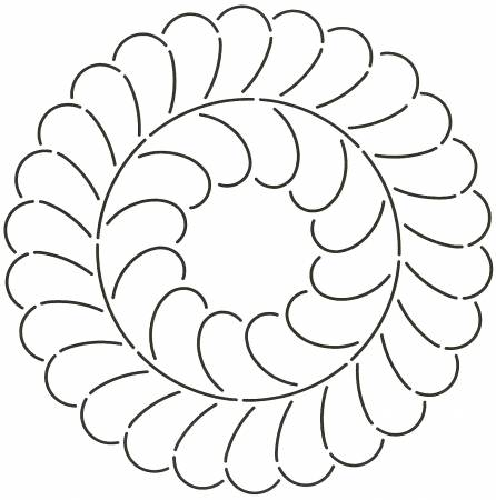 Quilt Stencil Feather Circle 10in