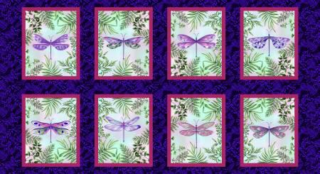 Dragonfly Garden Royal Dragonfly Panel 8in x 10in blocks 2460-77