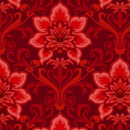Red Damask:  Hometown Holiday by Sheri Hart for Henry Glass and Co.