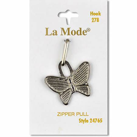 Zipper Pull Silver Metal Butterfly 1ct