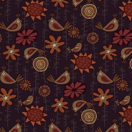 Purple Birds & Flowers 2498-58