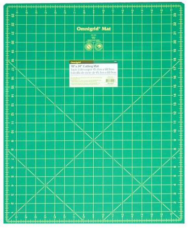 Cutting Mat Omnigrid Green with Yellow Grid 18in x 24in