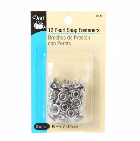 Pearl Snap Fasteners 12ct - Black