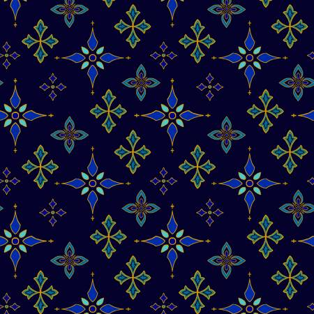 Silent Night Midnight Foulard Stars w/Metallic 2509M-77