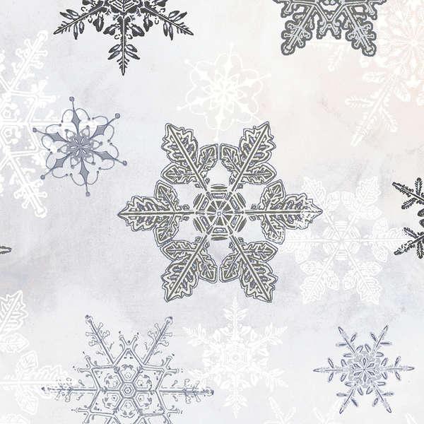 Winter Celebration - Large Grey Snowflakes w/Metallic