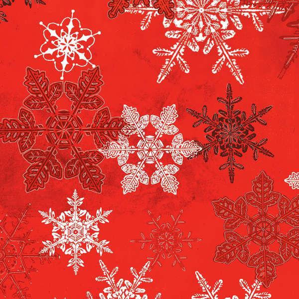 Winter Celebration - Red Large Snowflakes w/Metallic