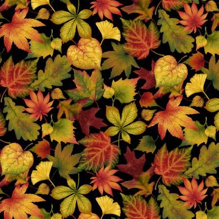 Black Tossed Leaves