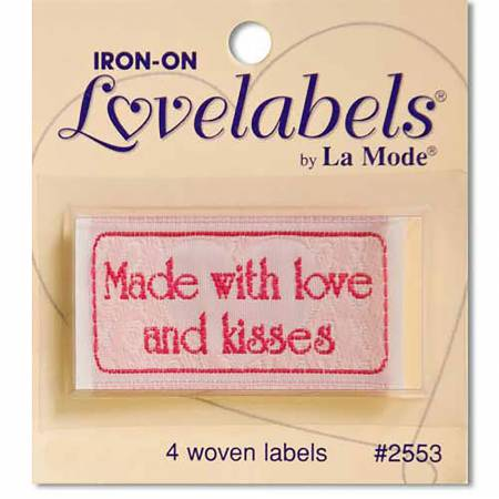 Made with Love & Kisses Lovelabels Iron-on - 1-7/8in x 1in