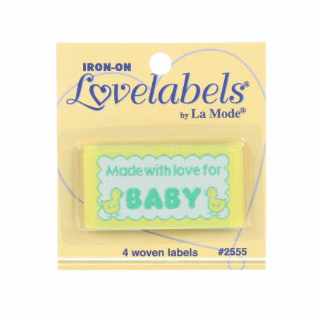 Quilt Labels-Iron On - Made with Love for Baby-Lovelabels - 1-3/4in - Lansing - 2555QL