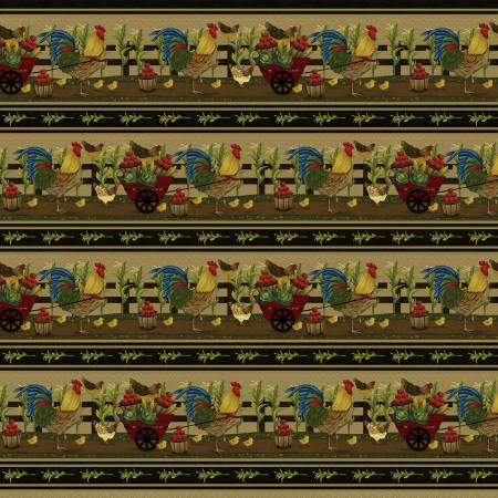 SPECIALTY FABRICS:  Chickens and Vegetables Border Stripe:  Farm to Market by Jan Mott for Henry Glass