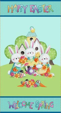 Easter Fun Aqua Happy Easter Panel -24in X 44in