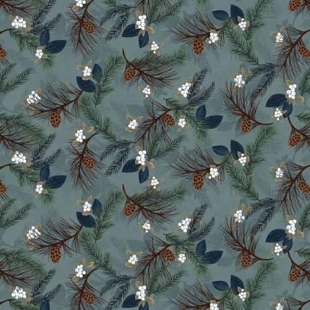 Folk Art Flannel Light Blue Pine Boughs on Flannel