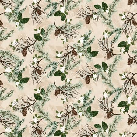 Folk Art Flannel Cream Pine Boughs on Flannel