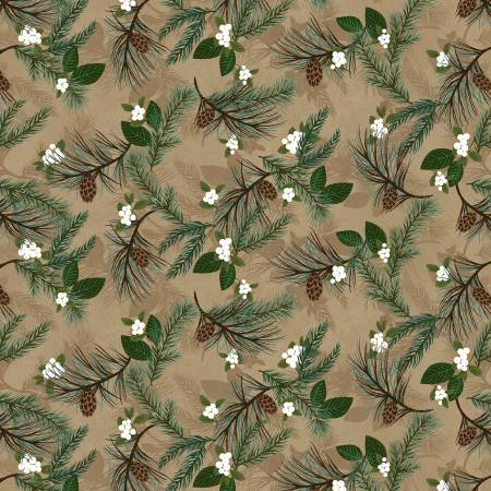 Folk Art Flannel Tan Pine Boughs on Flannel