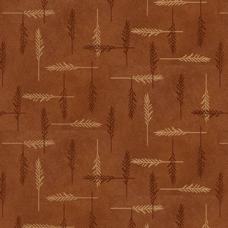 HG Folk Art Flannel IV Rust Feathers F2584