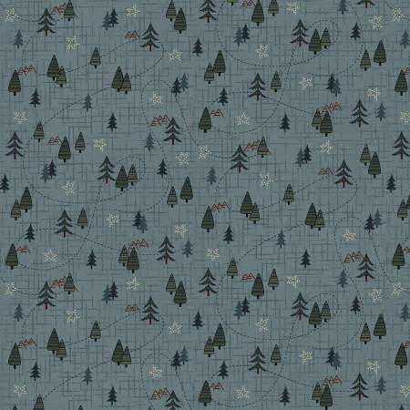 Folk Art Flannel Blue Mini Trees on Flannel