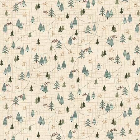 Folk Art Flannel Cream Mini Trees on Flannel