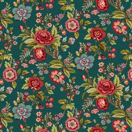2597-76 Teal Main Floral
