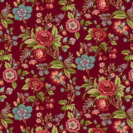 2597-88 TARRYTOWN Red Main Floral