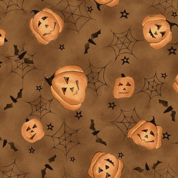 EE SCHENCK ON THE WEB BROWN WITH PUMPKINS AND COBWEBS 25988