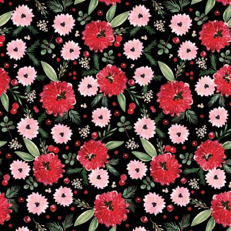 Black Winter Floral Digitally Printed