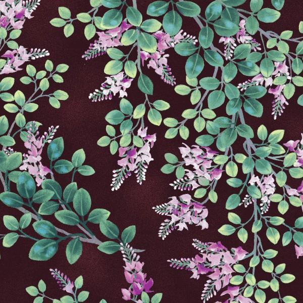 Dark Mauve Flowers & Leaves