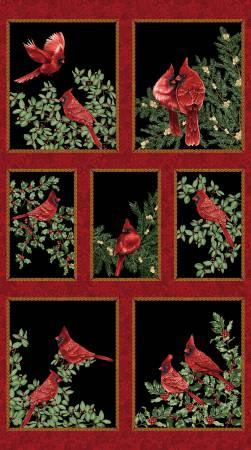 Black Backyard Cardinals Panel w/Metallic