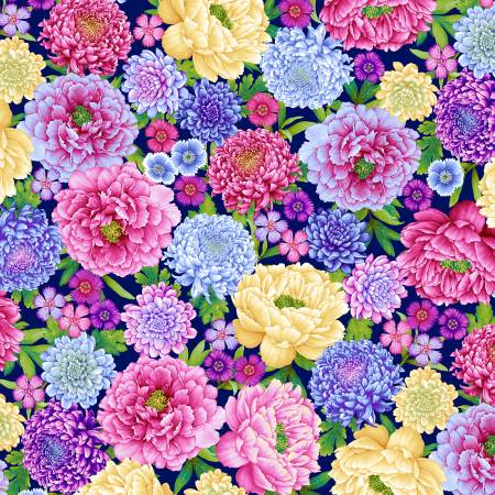 SPECIALTY FABRICS:  Packed Flowers on Navy Blue:  Gossamer Garden by Color Principle for Henry Glass