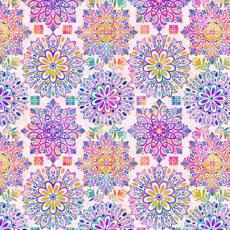 SPECIALTY FABRICS:  Pastel Medallions on White:  Gossamer Garden by Color Principle for Henry Glass
