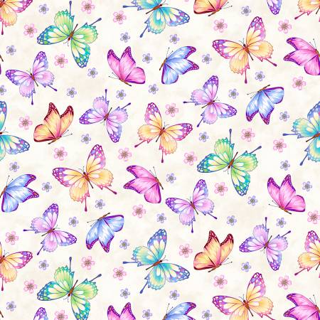 SPECIALTY FABRICS:  Butterflies on White:  Gossamer Garden by Color Principle for Henry Glass