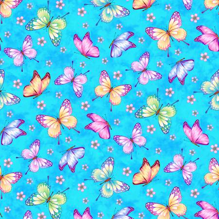 SPECIALTY FABRICS:  Butterflies on Sky Blue:  Gossamer Garden by Color Principle for Henry Glass