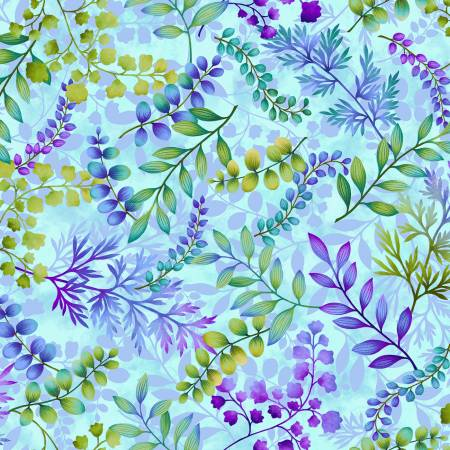 SPECIALTY FABRICS:  Leaf Foliage on Sky Blue:  Gossamer Garden by Color Principle for Henry Glass