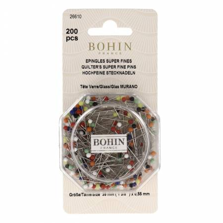 Bohin Glass Head Pin Assorted Colors - Size 28 - 1-3/8in 200ct