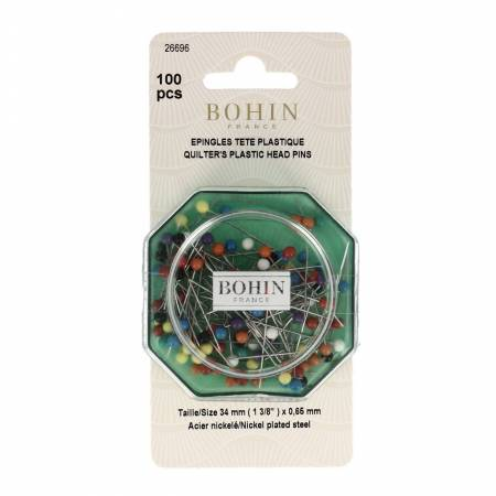 Bohin Color Ball Head Extra Long Pin Size 20 - 1 1/4in 100ct