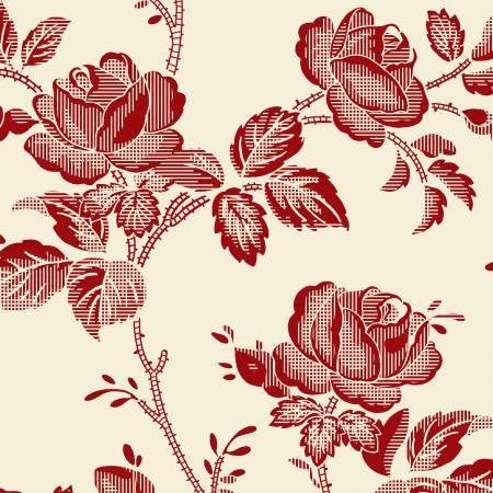 Garibaldi-Cream/Red Large Rose Reproduction