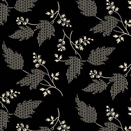Garibaldi-Black/Cream Leaf & Berries Reproduction