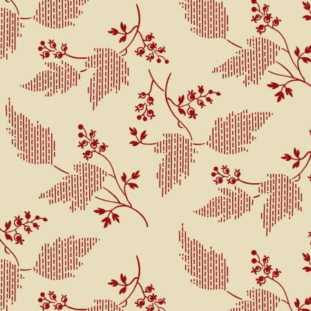 Garibaldi-Cream/Red Leaf & Berries Reproduction