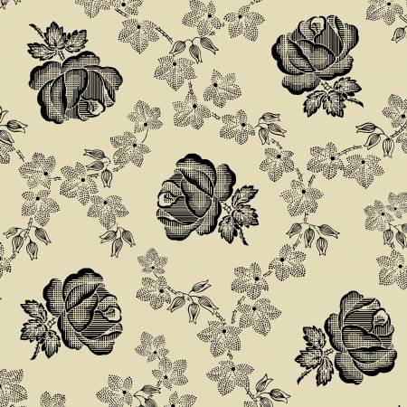 Garibaldi-Cream/Black Roses & Leaves Reproduction