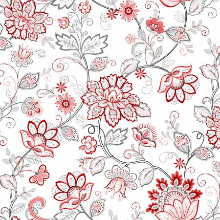 Scarlet Stitches and White Linen -  Red Vines on White