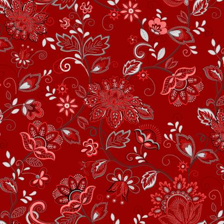 Scarlet Stitches and White Linen - Vines on Red