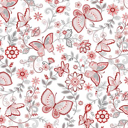 Scarlet Stitches and White Linen - Butterflies on White