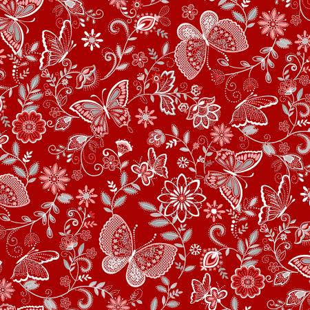 Scarlet Stitches and White Linen - Butterflies  on Red