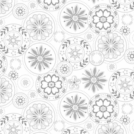 Scarlet Stitches and White Linen - Gray  Medallions on White
