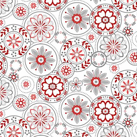 Scarlet Stitches and White Linen - Red Medallions on White