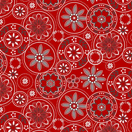 Scarlet Stitches and White Linen - Medallions on Red