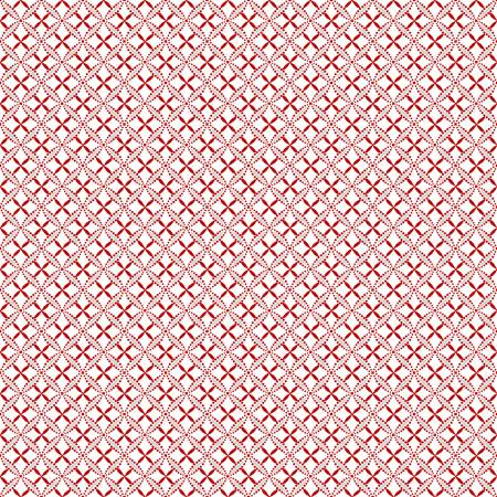 Scarlet Stitches and White Linen - Red Lattice on White