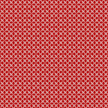 Scarlet Stitches and White Linen - White Lattice on Red